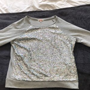 Gray sequined pullover